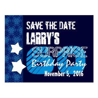 60th Surprise Birthday Save the Date Blue Stars Postcard