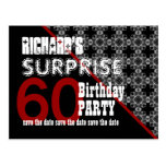 60th Surprise Birthday Save the Date Diagonal W60F Postcard