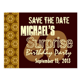 60th Surprise Birthday Save the Date Gold Postcard