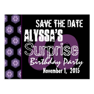 60th Surprise Birthday Save the Date Purple Black Postcard