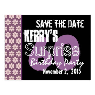 60th Surprise Birthday Save the Date Purple Flower Postcard