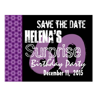 60th Surprise Birthday Save the Date Purple Stars Postcard
