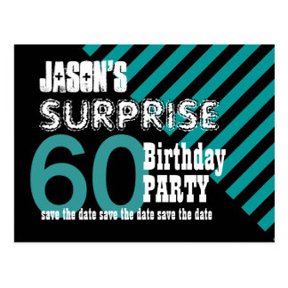 60th Surprise Birthday Save the Date Stripes S04Z Postcard