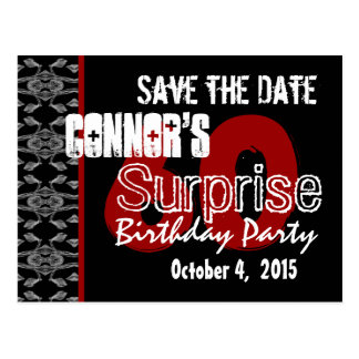 60th Surprise Save the Date Modern Black White Red Postcard