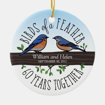 60th Wedding Anniversary, Bluebirds of a Feather Ceramic Ornament