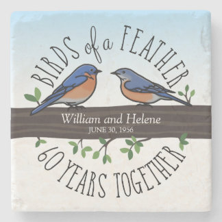 60th Wedding Anniversary, Bluebirds of a Feather Stone Coaster