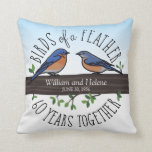 "60th Wedding Anniversary, Bluebirds of a Feather Throw Pillow<br><div class=""desc"">Birdwatchers will adore this personalized 60th wedding anniversary pillow! A female and male bluebird perching on a leafy tree branch are surrounded by handwritten text that reads, ""Birds of a Feather, 60 Years Together. Two names and a wedding date are centered on the branch and can be customized. Perfect for...</div>"