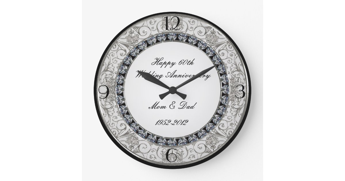 Wedding Gift Clock: 60th Wedding Anniversary Clock