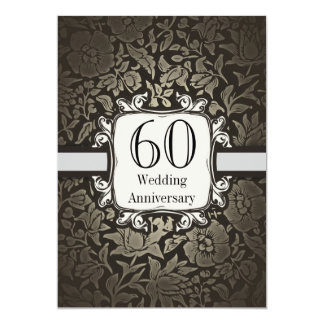 60th wedding anniversary damask vintage invitation