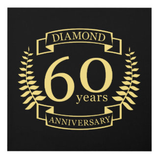 60th Wedding ANNIVERSARY diamond yellow Panel Wall Art