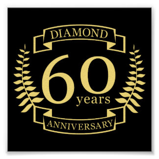 60th Wedding ANNIVERSARY diamond yellow Poster