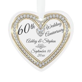 60th Wedding Anniversary Gold Diamonds Keepsake Ornament