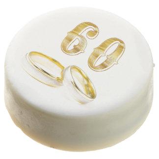 60th Wedding Anniversary Gold White Cookie