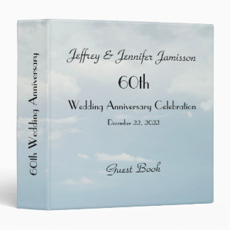 60th Wedding Anniversary Guest Book, Pale Sky Binder