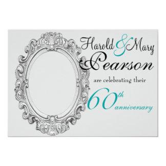 "60th wedding anniversary invitation 5"" x 7"" invitation card"