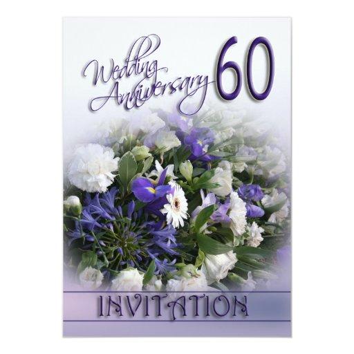 60th wedding anniversary invitation blue flowers zazzle. Black Bedroom Furniture Sets. Home Design Ideas