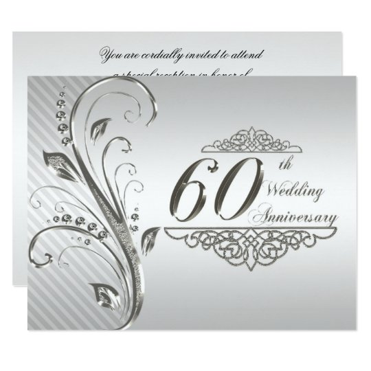 Awesome 60th Wedding Anniversary Invitation Card