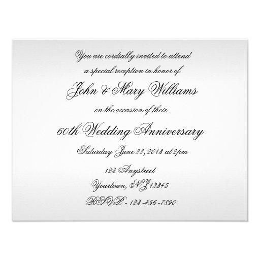60th Wedding Anniversary Invitation Card (back side)