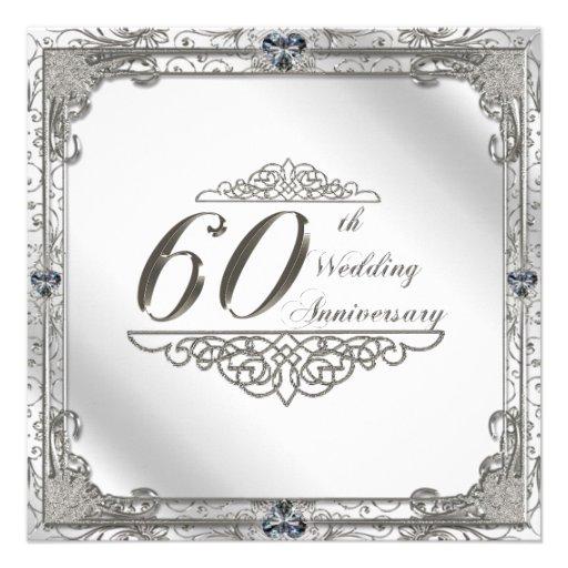 60th wedding anniversary invitation card 525quot square for Free printable 60th wedding anniversary invitations