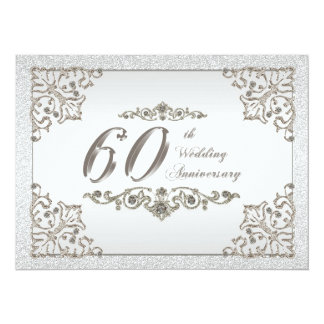"60th Wedding Anniversary Invitation Card 5.5"" X 7.5"" Invitation Card"