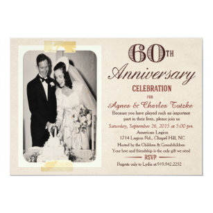 60th Wedding Anniversary Invitations Announcements Zazzle
