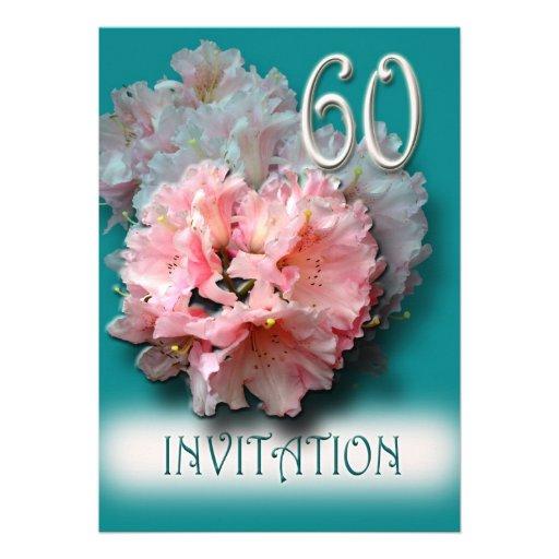 60th Wedding Anniversary Invitation rhododendrons