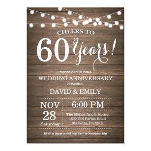 60th Wedding Anniversary Invitation Rustic Wood
