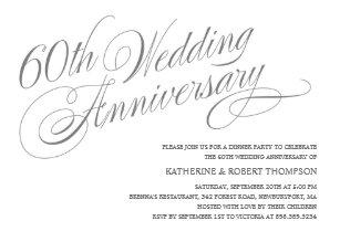 60th anniversary wedding invitations zazzle