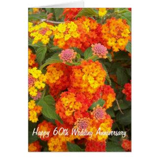 60th Wedding Anniversary Lantana Greeting Card