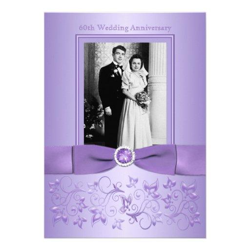 60th Wedding Anniversary Lilac Floral Invitation