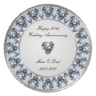 60th Wedding Anniversary Melamine Plate at Zazzle