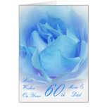 60th Wedding Anniversary Mom & Dad Blue Rose Greeting Cards