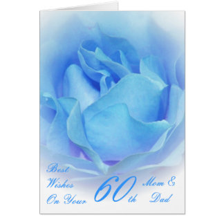 60th Wedding Anniversary Mom & Dad Blue Rose Greeting Cards
