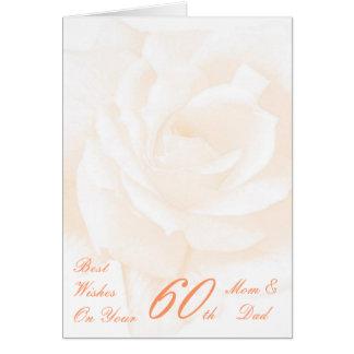 60th Wedding Anniversary Mom & Dad Ivory Rose Cards