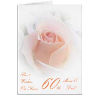 60th Wedding Anniversary Mom & Dad Pink Rose Card