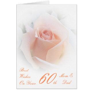 60th Wedding Anniversary Mom & Dad Pink Rose Greeting Card