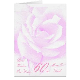 60th Wedding Anniversary Mom & Dad Purple Rose Greeting Cards