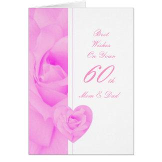 60th Wedding Anniversary Mom & Dad Purple Rose Hea Card