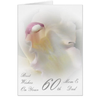 60th Wedding Anniversary Mom & Dad White Orchid Cards