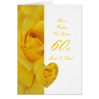 60th Wedding Anniversary Mom & Dad Yellow Rose Hea Card
