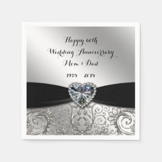 60th Wedding Anniversary Paper Napkins at Zazzle