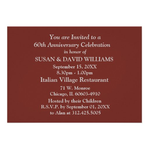 60th Wedding Anniversary Party Invitations (back side)
