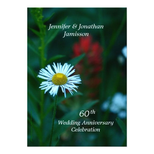 60th Wedding Anniversary Party Invite White Flower