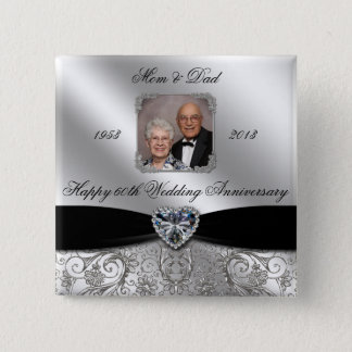 60th Wedding Anniversary Photo Button