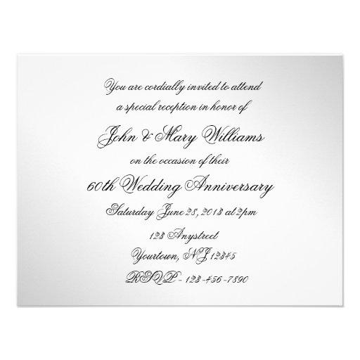 60th Wedding Anniversary Photo Invitation Card (back side)