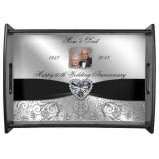 60th Wedding Anniversary Photo Serving Tray