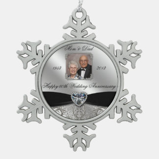 60th Wedding Anniversary Photo Snowflake Ornament