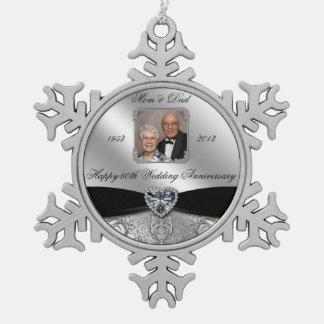 60th Wedding Anniversary Photo Snowflake Ornament