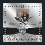 "60th Wedding Anniversary Photo Square Wall Clock<br><div class=""desc"">A Digitalbcon Images Design featuring a black satin and platinum silver color and flourish design theme with a variety of custom images, shapes, patterns, styles and fonts in this one-of-a-kind &quot;Diamond Wedding Anniversary Design&quot; Photo Square Wall Clock. This attractive and elegant design comes complete with customizable text lettering to suit...</div>"