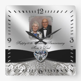 60th Wedding Anniversary Photo Square Wall Clock